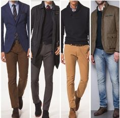 Some decent color combinations, especially the leftmost one, deep navy blazer with brown chino pants.