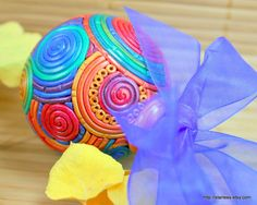 polmyer clay ornaments | Fiesta Rainbow Christmas ornament in polymer clay by StarlessClay