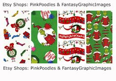 New free printable - to download and print for personal use only - Grinch bookmarks/gift tags or other Christmas crafts; look for freebies category in right sidebar