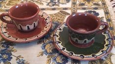 Bulgarian Pottery Troyan Art Pottery 2 cups and Saucers Redware Pottery Bulgarian, Vintage Table, Pottery Art, Cup And Saucer, Tea Cups, Tableware, Ebay, Dinnerware, Bulgarian Language