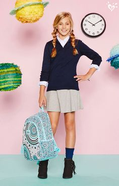 Arrive in style and right on time in our new uniform pieces and made-to-match school supplies.
