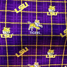 """LSU Tigers Licensed fabric  100% cotton 45"""" wide  LSU800 check quilting apparel, crafts, more"""