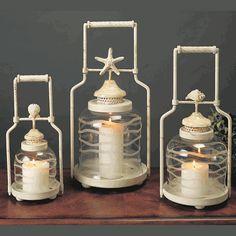 Sandy Shores Shell Lanterns - Set of 3