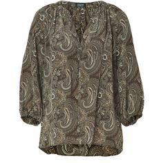 STEFFEN SCHRAUT Warm Chocolate Paisley Printed Silk Tunic Top ($240) ❤ liked on Polyvore