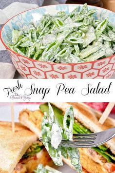 Fresh Snap Pea Salad Recipe combines sugar snap peas, cucumber, pickled onions and a simple sour cream and dill dressing. Quick, easy and delicious. Pea Salad Recipes, Pea Recipes, Healthy Salad Recipes, Side Dish Recipes, Veggie Recipes, Vegetarian Recipes, Snow Pea Salad Recipe, Soup And Salad, Pasta Salad