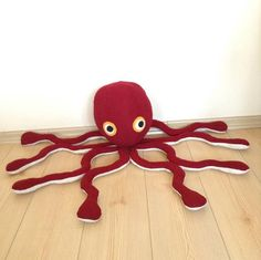Stuffed animal red octopus for kids handmade plush toy by Pillowio