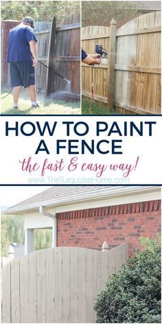 This inexpensive paint sprayer is awesome! How to Paint a Wood Fence the Easiest and Fastest Way! Take a minute to CLICK the link and access hundreds of other tutorials, tips and ideas for DIY home projects. This site is a MUST for any DIYer. Painted Wood Fence, Wooden Fence, Diy Fence, Backyard Fences, Backyard Ideas, Fence Ideas, Garden Fences, Fence Art, Landscaping Ideas