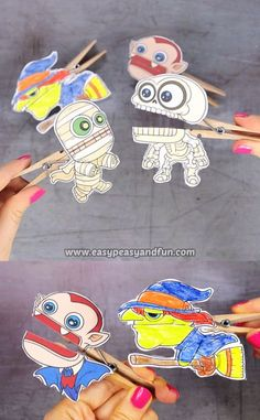 Your classroom (or home) Halloween party is going to be a huge hit with these printable Halloween clothespin puppets. videos for kids creative Halloween Clothespin Puppets Halloween Decorations For Kids, Halloween Arts And Crafts, Halloween Activities, Halloween Diy, Group Halloween, Halloween Party For Kids, Hallowen Party, Classroom Halloween Party, Halloween Office