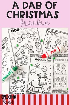 A Dab of Christmas is a freebie for speech-language therapy in December! Your speech therapy students will love using bingo daubers or dot markers! This packet addresses articulation, pronouns, describing, and comparing/contrasting! These are also great to send home for winter break for additional practice!