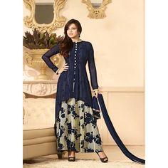 Shop Charming Blue & Off White Designer Salwar Suit by Monsoon Dhamaka online. Largest collection of Latest Anarkalis online. ✻ 100% Genuine Products ✻ Easy Returns ✻ Timely Delivery