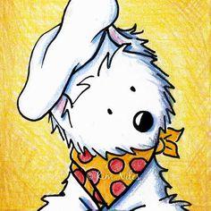 ACEO Art Print WESTIE Terrier Dog Pizza Chef. $4.95, via Etsy.