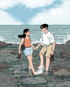 Jaán 💏 hirA walking on Malibu California beach my darling husband mmmm 💋 💋 remember Sathi 💗 Cute Couple Drawings, Cute Couple Art, Couple Illustration, Illustration Art, Anime Couples, Cute Couples, Couple Cartoon, Korean Art, Pretty Art