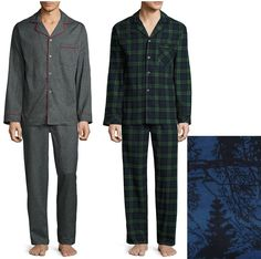 Stafford Mens Cotton Pajama 2 piece Set Long Sleeves size S M NEW