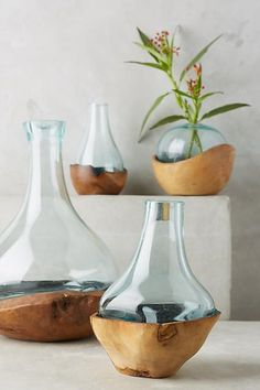 Anthropologie Teak & Bottle Vase. Due to the handmade nature of this item, no two are exactly alike. Teak, glass. Ad a focal piece to your home that is sure to get conversations flowing! Sponsored