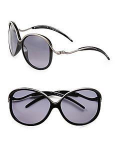 Roberto Cavalli Oversized Round Acetate & Metal Sunglasses