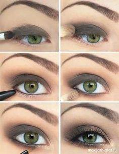 Le traditionnel œil charbonneux est parfait pour les yeux verts. On l'exécute avec une ombre matte g... - Trouvé sur gurl.com