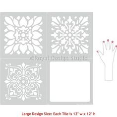 Decorate and paint a faux tile design or random wall art motifs with our Renaissance Tile Stencils Set A. These traditional European tile patterns coordinate wi Stencil Diy, Stencil Painting, Tile Stencils, Stenciling, Stencil Patterns, Stencil Designs, Tile Patterns, Tile Design, Pattern Design