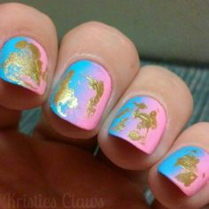Pink and blue gradient nails with gold foil #kristiesclaws