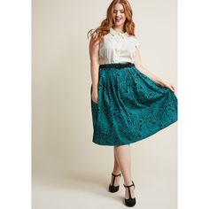 Hell Bunny Storybook Shadows Midi Skirt in Teal (€22) ❤ liked on Polyvore featuring skirts, hell bunny skirt, teal skirt, checked skirt, a-line skirts and checked pleated skirt