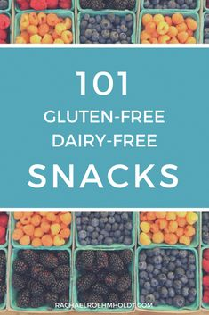 101 Gluten-free Dairy-free Snacks Ideas Looking for gluten-free dairy-free snacks? Look no further! I've got you covered with 101 snack ideas for homemade, store-bought, travel, and simple recipes that are quick and easy to put together. Dairy Free Snacks, Gluten Free Lunches, Healthy Gluten Free Snacks, Healthy Eats, Dairy Free Recipes Easy, Gluton Free Snacks, Gluten Free Recipes For Lunch, Dairy Free Alternatives, Healthy Shakes