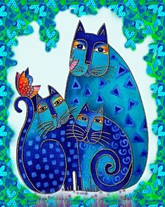 Laurel Burch - She was a very creative artist. I now own a silk scarf that has her cats on it and an umbrella that is very similar and in the same color family. Indigo Cats. Beautiful gifts.
