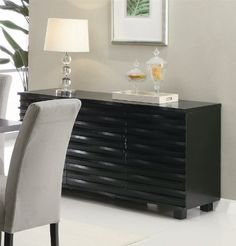 Server Sideboard with Wave Design in Rich Black Finish Coaster Home Furnishings | 59w x 20d x 31h | cabinets and shelving | $556
