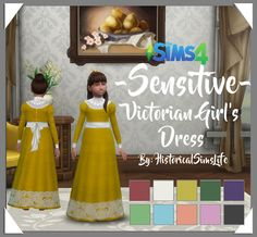 Sensitive Victorian Girls Dress by Anni K at Historical Sims Life via Sims 4 Updates
