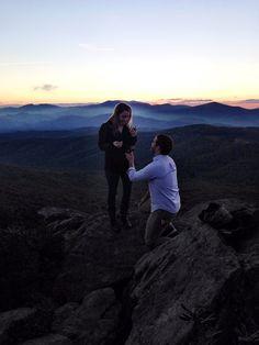 Mountain Top proposal at sunset. Sugar Mountain, North Carolina.