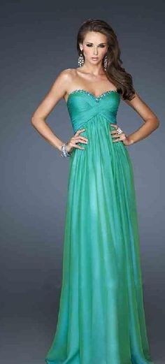 Sexy Green Sweetheart A-Line No Waist/Princess Seams Chiffon Evening Dress lkxdresses22586cfg #longdress #promdress