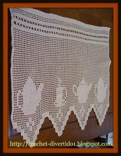 crochet-divertido1: CENEFA DE COCINA Crochet Curtains, Valance Curtains, Yarn Crafts, Diy Crafts, Filet Crochet Charts, Macrame, Mandala, Crochet Patterns, Knitting