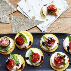 Polenta Caprese Canapés Recipe | Weight Watchers