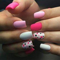 Marvelous Pink Dotted Nail Art Designs for Girls 2019 Cute Acrylic Nails, Matte Nails, Pink Nails, Gel Nails, Shellac, Metallic Nail Polish, Dot Nail Art, Trendy Nail Art, Manicure E Pedicure