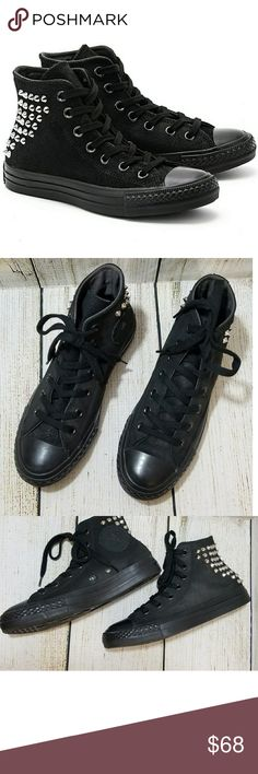 Converse Chuck Taylor Studded High Tops Converse Chuck Taylor Studded Collar Black. Studded metal hardware gives some serious edge to the classic Chuck Taylor. Converse Shoes Sneakers