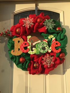 "Red and green Burlap ""believe"" Christmas wreath"