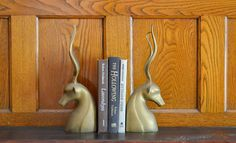 vintage hollywood regency brass antelope bookends by compostthis