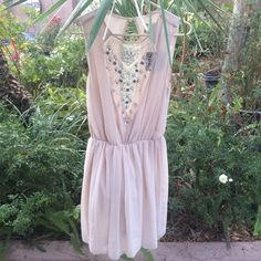 New with tags ASOS beige chiffon dress Gorgeous dress. New with tags. Size M (8) ASOS Dresses Mini