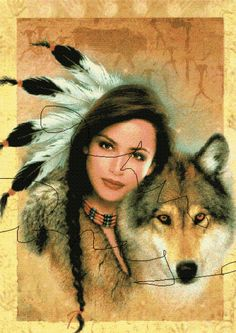 Native American Woman and her Wolf Cross Stitch Pattern
