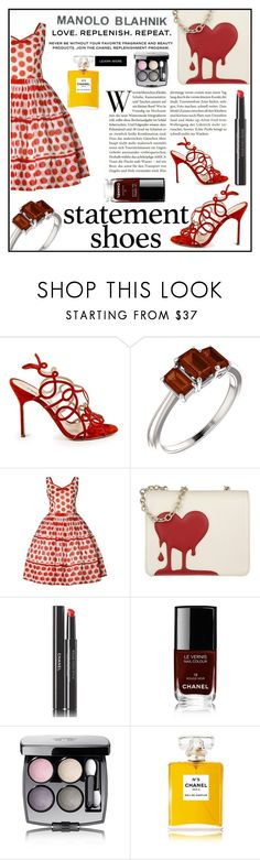 """""""Statement Shoes (Boho Style): Manolo Blahnik Red Cut Out Sandals"""" by elisabetta-negro ❤ liked on Polyvore featuring Manolo Blahnik, Love Moschino, Chanel and statementshoes"""