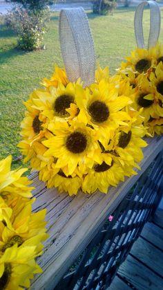 Silk Sunflower Kissing Ball with Natural Burlap Loop