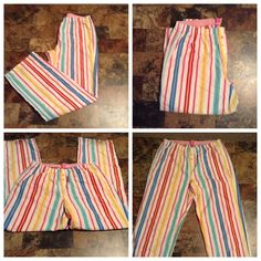 """PINK Victoria's Secret Pajama Bottoms PINK Victoria's Secret Pajama Bottoms are made of 100% Cotton. striped. Size Medium. The colors are pink/white/yellow/Blue/red/green. Laying flat """"13.5. Inseam """"31. Length """"40. This item is NOT new, It is used & has wear on the bottom with stains on the front left leg. Last photo zoomed in to show detail. From a Smoke & Pet free home. All Offers through the offer button ONLY.  Ask any questions BEFORE purchase. Please use the Offer button, I WILL NOT…"""