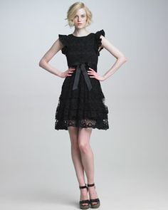 RED Valentino Ruffle-Sleeve Lace Dress, 212 872 2843
