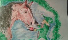 Hevonen ja tonttu..vesivärimaalaus