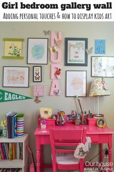 How to add personal touches to a kids bedroom and still have it be stylish and decorated. Tips to also create an organized homework or art space for a kids bedroom. This girl bedroom is full of color!