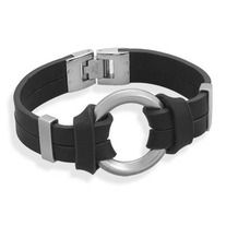 """This brand new 8"""" high quality black leather bracelet measures a approximately one and a half inches wide with a fold over closure design and it features a stainless steel center circle design measuring approximately 1 inch wide with a stylish matte finish!"""