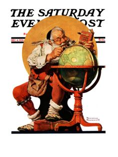 """""""Santa at the Globe"""" Saturday Evening Post Cover, December 4,1926 Giclee Print by Norman Rockwell at Art.com"""