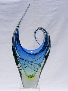 """17"""" Murano sommerso vaseline sculptural glass vase"""