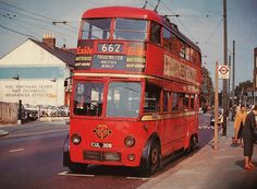 London transport type AEC trolleybus with BRCW bodywork on route 662 towards Paddington, not sure of location. Old postcard from collection. London History, Tudor History, British History, Asian History, Vintage London, Old London, London Transport, Public Transport, History Photos