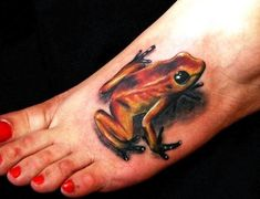 Foot Tattoos for Women - Tattoos For Girls On Foot - Female Tattoos Designs Wicked Tattoos, Body Art Tattoos, Girl Tattoos, Sleeve Tattoos, Tatoos, 3d Tattoos, Trendy Tattoos, Small Tattoos, Tree Frog Tattoos