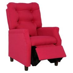 Newco Deluxe Upholstered Kids Micro Recliner Hot Pink Cotton