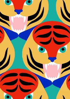 #minakani #tiger #feline #jungle #tiki #allover #pattern